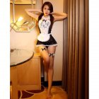 Women Sexy Lingerie Maid Uniform Costumes Role Play Sexy Underwear Lovely Female White Lace Erotic Costume One size_A