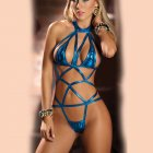 Women Sexy Lingerie Nightclub Dress Patent Leather Bodysuit Pole Dancing Clubwear  blue_One size
