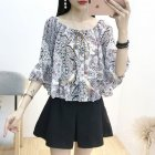 Women Sexy Off Shoulder Chiffon T -Shirt Floral Printing Madarin Sleeves Tops Ethnic purple_free size