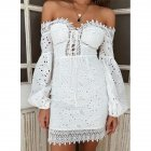 Women Sexy Off-shoulder Cotton Embroidered Lace Dress with Long Sleeves white_S