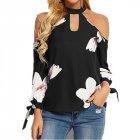 Women Sexy Off-shoulder Halter Stylish T-shirt Flower Print Long Sleeve Brouse