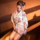 Women Sexy Printing Japanese Kimono + Belt +T Pants Nightgown Cosplay Costume white_One size