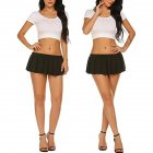 Women Sexy Role Play Pleated Mini Skirt Ruffle Lingerie for Schoolgirl  black XXL
