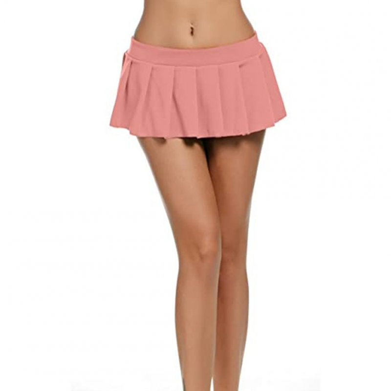 Women Sexy Role Play Pleated Mini Skirt Ruffle Lingerie for Schoolgirl  Pink_L