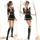 Women Sexy See Through Student Uniform Dress + Tie +Socks Role Play Net dress - tie - student socks_One size