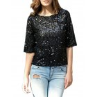 Women Sexy Sequins Round Neck T-shirt