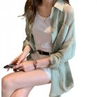 Women Shirt Lapel Solid Color Long Sleeves Loose Blouse Thin Sunscreen Tops Coat light green_L
