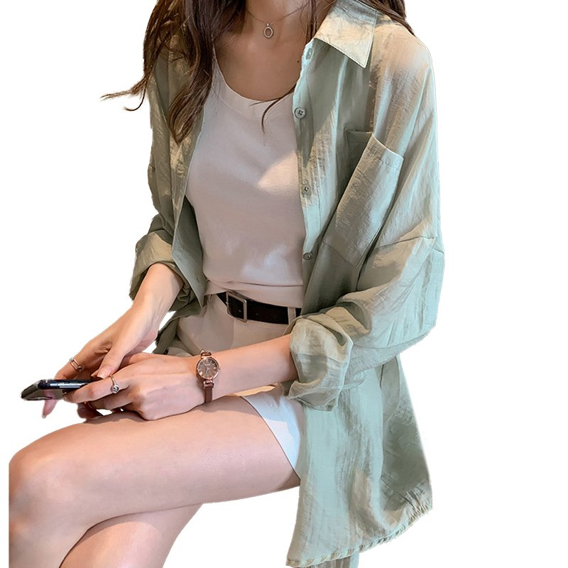 Women Shirt Lapel Solid Color Long Sleeves Loose Blouse Thin Sunscreen Tops Coat light green_M