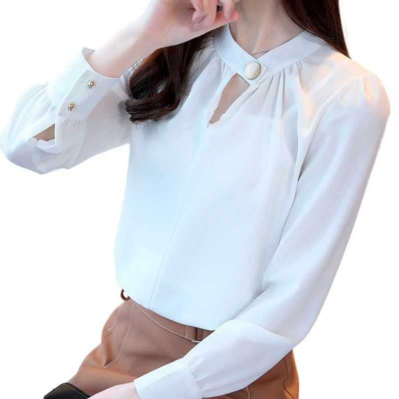 Women Shirt Spring Autumn Loose Stand Collar Shirt Sweet Style Long Sleeve Chiffon Shirt white_L