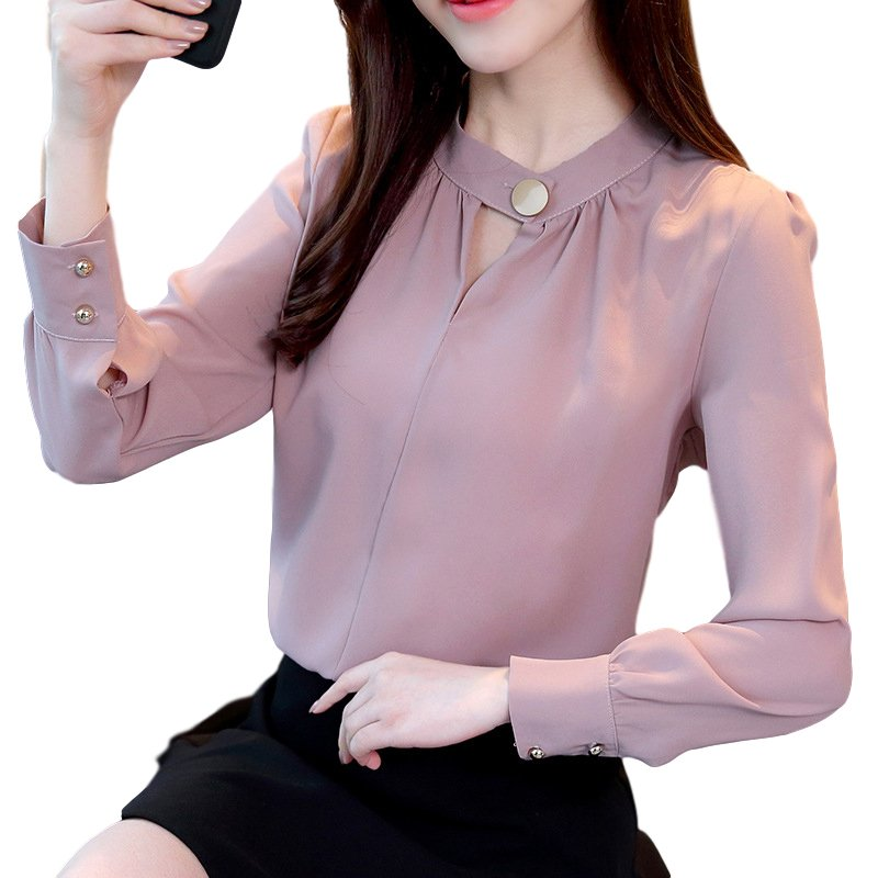 Women Shirt Spring Autumn Loose Stand Collar Shirt Sweet Style Long Sleeve Chiffon Shirt pale pinkish gray_S