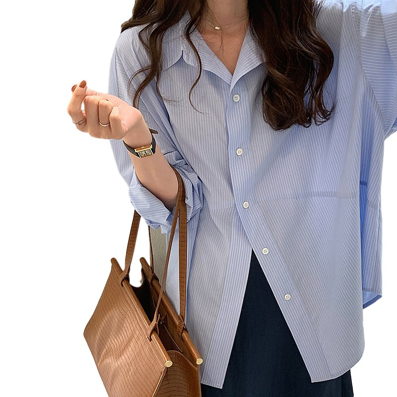 Women Shirt Striped Shirt With Long Sleeves Diagonal Slit Design For Front Piece Lapel Tops Light blue stripes_L
