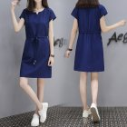 Short Sleeve Loose V Collar Lacing Dress