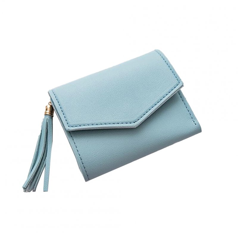 Women Short Wallet 3-folds Tassel Solid Color PU Leather Magnetic Buckle Square Purse blue