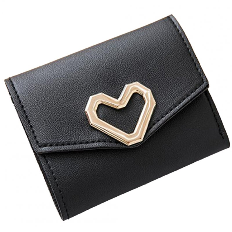 Women Short Wallet Heart 3-folds Candy Color PU Leather Magnetic Buckle Square Purse black