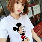 Women Short-sleeved Spring Summer Loose T-shirt All Matching Tops White_2XL