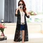 Women Solid Color Cardigan Lace Shirt