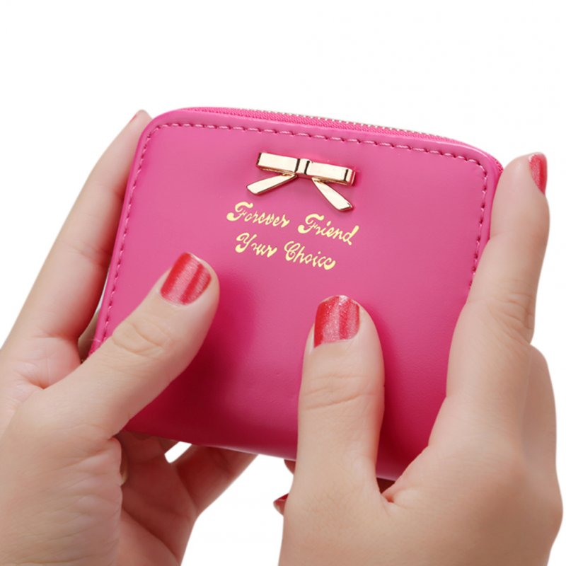 Women Bowknot Decoration Zipper Handbag