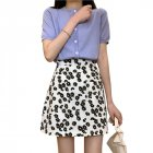 Women Skirt Daisy Print High Waist Casual Slim Fresh Summer A-line Skirt white_L