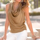 Women Sleeveless Chiffon Shirts Fashion Collar Solid Color Shirts  Khaki_M