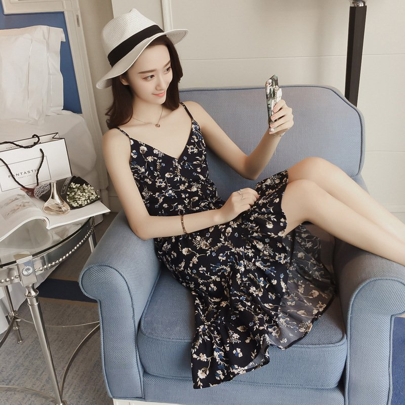Women Sleeveless Shoulder Strap Dresses Delicate Flowers Print Sweet Style Dress Blue _XL