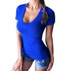 Women Slim Fit Fashion Deep V neck Shirt Sexy Solid Color Simple T shirts