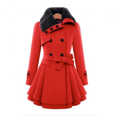 Women  Long Woolen Overcoat - Red Navy