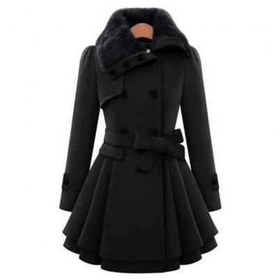 Women Slim Fit Medium Long Woolen Overcoat