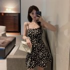 Women Sling Dress Daisy Print High Waist Slim Summer Lady Short A-line Dress black_2XL