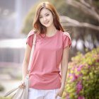 Women Solid Color Loose Round Collar Short Sleeve T-shirt Pink_L