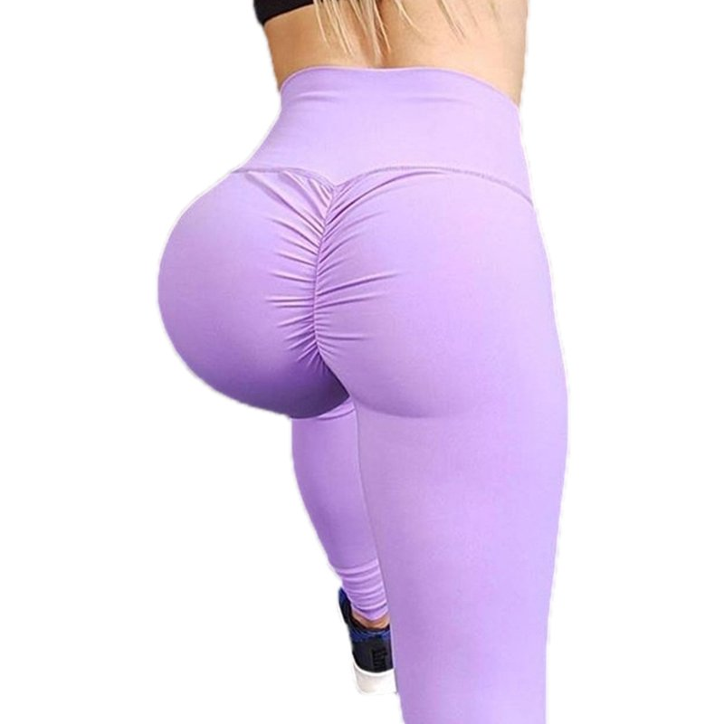 Ladies High Waist Yoga Pants purple_L