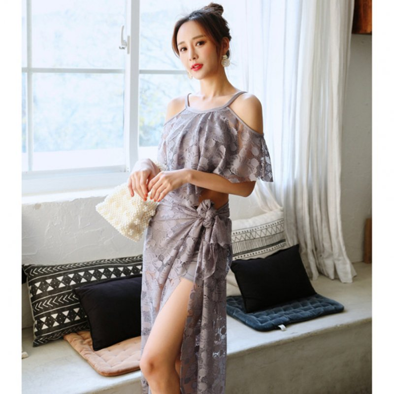 Women Split Sexy Hot Spring Swimwear Bikini Three-piece Suit Small Chest Gathered Swimwear Dark gray 5826_L