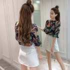 Women Spring Summer Half Sleeve Loose Printing Chiffon Shirt with Vest High heels_L