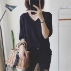 Women Spring Summer Pure Color Blouse Loose Casual Half-sleeve Knit T-shirt  black_One size