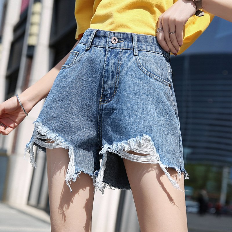 Women Spring Summer Pure Color High Waist Rough Edge Denim Shorts Retro blue_M 27