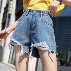 Women Spring Summer Pure Color High Waist Rough Edge Denim Shorts Retro blue_XL 29