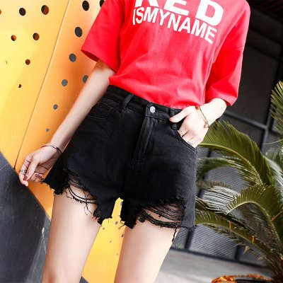 Women Spring Summer Pure Color High Waist Rough Edge Denim Shorts black_M 27