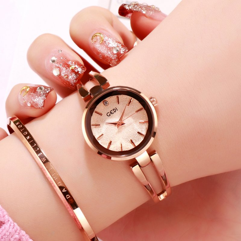 Women Stainless Steel Waterproof Bracelet Watch with Spiral Case for Casual Office  Rose gold shell rose gold dial
