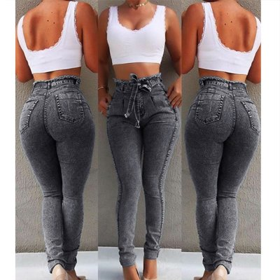 Women Stretchable Body-building Fringed Waist Belt High-waist Jeans gray_L