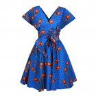 Women Stylish Printed Dress Pleated Middle Length V-neck Dress FQSA001_XL
