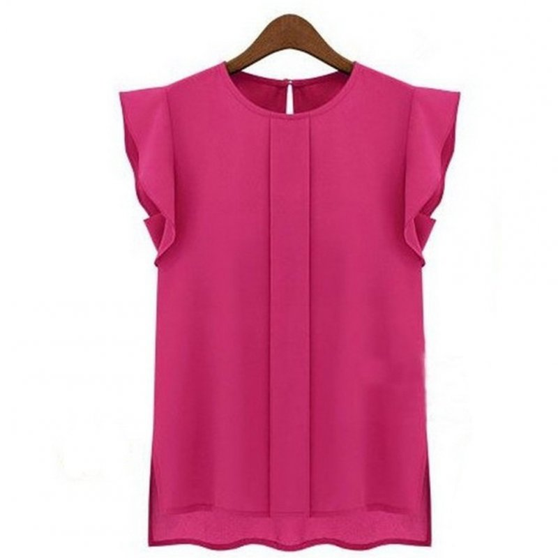 Women Summer Casual All-match Solid Color Round Neck Chiffon Shirt rose red_L