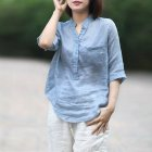 Women Summer Casual Cotton and Linen Stand Collar Shirt  Loose Mid-length Sleeve Shirt Ice blue_M
