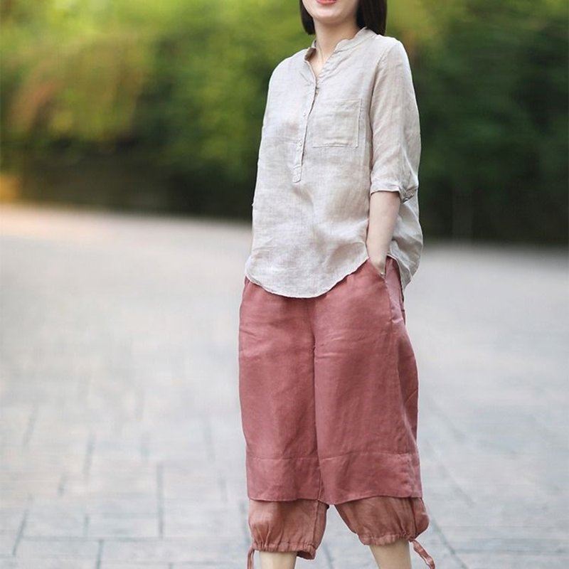 Women Summer Casual Cotton and Linen Stand Collar Shirt  Loose Mid-length Sleeve Shirt Beige_L