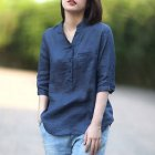 Women Summer Casual Cotton and Linen Stand Collar Shirt  Loose Mid-length Sleeve Shirt Navy_L