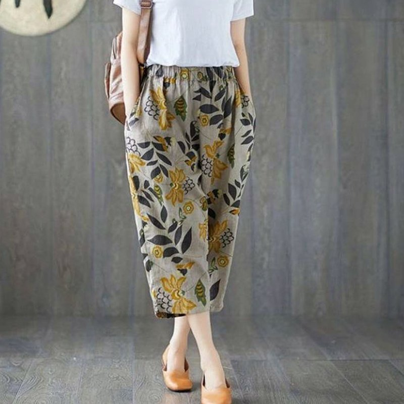 Women Summer Casual Fashion Printing Thin Loose Casual Cropped Trousers Haren Pants Flower_XXXL