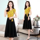 Women Summer Casual Fashion Stripe Pattern Short-sleeved A-shaped Dress yellow_M
