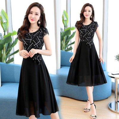 where can i buy genuine shoes cute cheap Women Summer Casual Fashion Stripe Pattern Short-sleeved A-shaped Dress  black_L