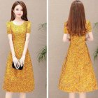 Women Summer Casual Flower Printing Leisure Short Sleeve Long Dress yellow_M