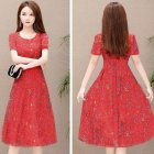 Women Summer Casual Flower Printing Leisure Short Sleeve Long Dress red_M