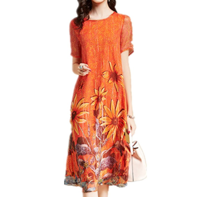 Women Summer Casual Loose Fashion Printing Knee-length Maxi Dress Orange_M