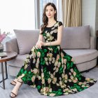 Women Summer Casual Short Sleeve Floral Printing Long Dress green_XL